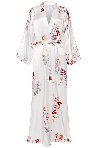BABEYOND Damen Morgenmantel Maxi Lang Satin Sommer Kimono Kleid Blumen Muster Kimono Bademantel Damen Lange Robe Blumen Schlafmantel Girl Pajama Party (2-Weiß)