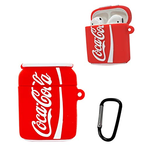Airpod Case,Thick and Soft cans of Silicone Coca-Cola,Soft Silicone Shockproof Key Chain airpods Charging Box,for Boys and Girls,Compatible airpods Skin Cases(Red Coke)