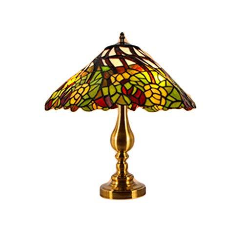 Tiffany - Lámparas de mesa para dormitorio, vintage, diseño artístico, base de hierro y hierro vintage, E27