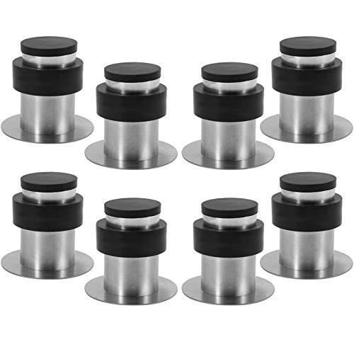 8 x Tope de Puerta Adhesivo para Pared o Suelo Acero Inoxidable con Goma - Altura 45 mm