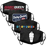 4Pack Womens Mens Dairy-Queen-DQ-Ice-Cream-White- Mouth Cover Casual Face Mask with Adjustable Ear Loops