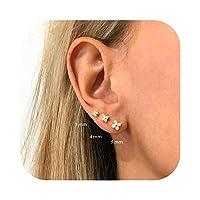 Hanabi 925925シルバーの星の形リングスタッドピアスかわいいジルコン耳骨ネイルミニクリスタルフラワーピアスファッションジュエリー-silver-5mm