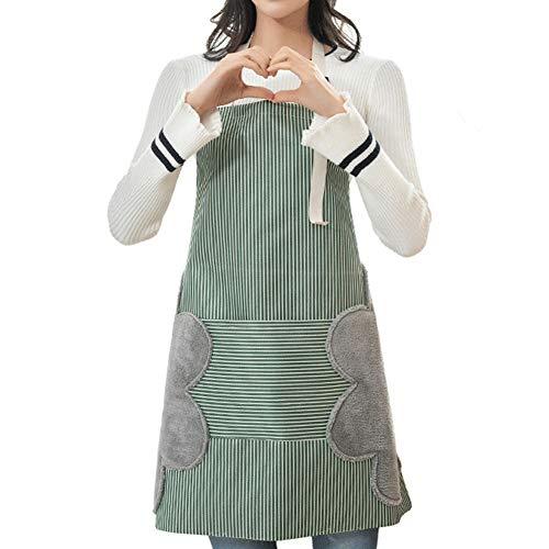 Abwischen der Hände Schürze,Damen Küchenschürze mit Taschen,Verstellbare Kochschürze Küchenschürze für Kellnerin,Küche,Restaurant,Café