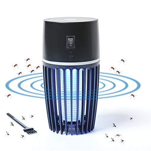 Lampada Antizanzare Elettrico con Batteria Ricaricabile USB, 120㎡ Zanzariera Elettrica Insetticida 4000V con Luce UV, per Casa Giardino Interno Esterno Cucina Soggiorno, Insetti Zanzare, Mosca, Falene