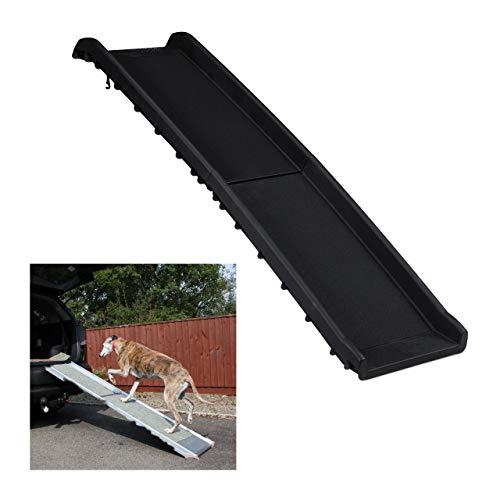 Relaxdays Hunderampe Auto, klappbar, rutschfest, Einstiegshilfe für Kofferraum, bis 90 kg, Kunststoff, 156x40cm, schwarz, 1 Stück