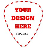 Customized Guitar Picks,12-pack Personalized Bass Plectrums Add Your Own Text Name Message Instrument Accessories