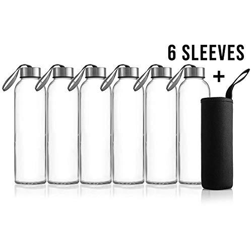 Zuzoro - 6-Pack -18oz Juice & Beverage Glass Water Bottles - for...