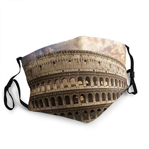 VAMIX Forum Blaue Farbe Kolosseum Rom Italien Flavian Parks Rotes Kolosseum Römisches Roma Amphitheater Empire Field Staubwaschbarer wiederverwendbarer Mund Warmes winddichtes Baumwollgesicht