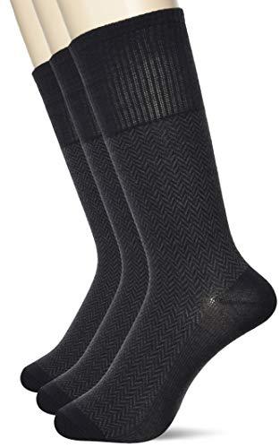 [グンゼ] ソックス HOTMAGIC ホットマジック 靴下 ビジネス 吸湿発熱 強力消臭 ヘリンボーン柄 同色3足組 メンズ チャコールグレー 25-27
