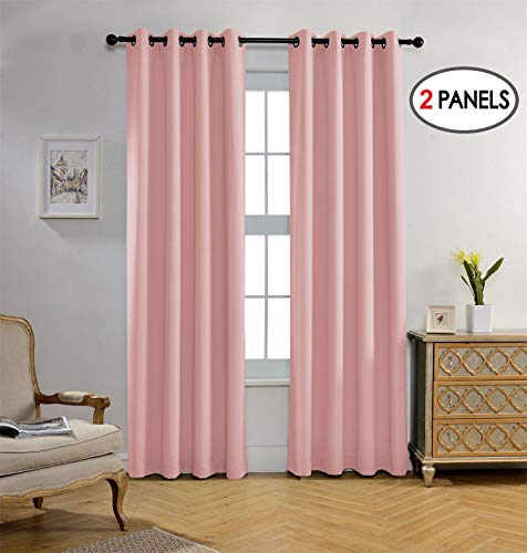 Miuco Blackout Curtains Room Darkening Textured Grommet Window Curtains Nursery Curtains 2 Panels 52x95 Inch Pink