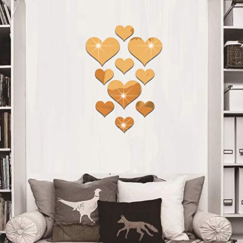 CUGBO 20 Pieces Crystal Love Heart Mirror Wall Stickers, Acrylic 3D DIY Art Wall Decals Home Living Room TV Background Decor, 10Pcs/lot(Gold)