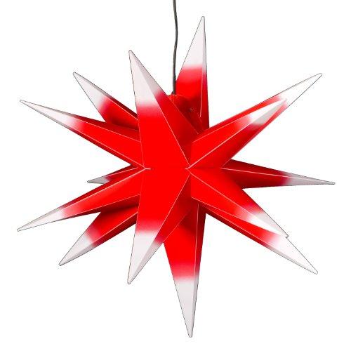 LED Außenstern rot mit weißen Spitzen - beleuchteter Stern ca. 55 cm - wetterfest und frostbeständig. Weihnachtsstern Leuchtstern Faltstern, auswechselbar, kein Trafo nötig!