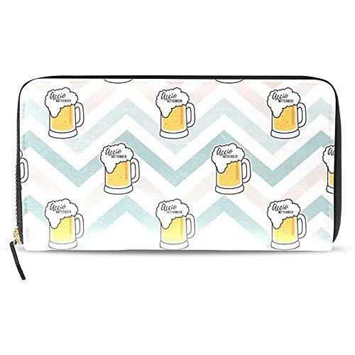 Leder Zip Around Kartenhalter Geldbörse Clutch Bag Wallet Long Clutch Bier-Kartenhalter Organizer, Pu Leder Reißverschluss Geldbörse Für Männer Frauen
