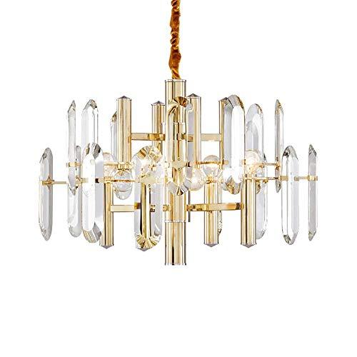 YQDSY 10 Luces Colgantes de Cristal Moderno Ligero Araña, E14 Oro Ajustable Luces de Techo Luz de Lujo Luz Colgante para Sala de Estar Dormitorio Barra de Cocina Bar-Galdós 80 * 45
