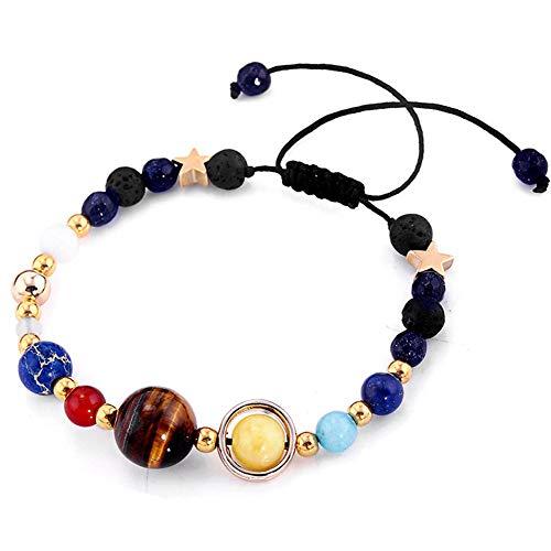 Universum Planeten Perlen-armbänder, Justierbare Armbänder Art Und Weise Natürliche Sonnensystem-Armband Für Frauen Oder Männer