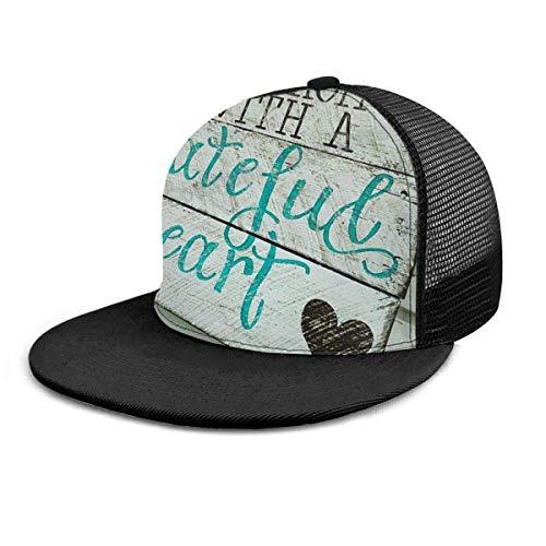 Baseball Cap Beginnen Sie jeden Tag mit einem dankbaren Herz Zitate Hysteresenhüte Unisex Trucker Hat Hip Hop Plaid flach verstellbare Baseball Caps schwarz