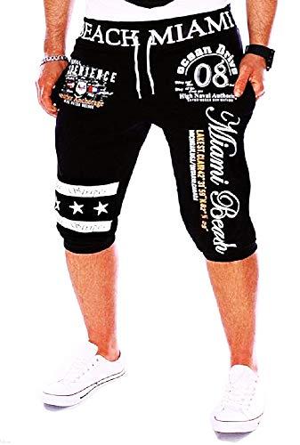 Bijgesneden broek - heren - 3/4 - sport - shorts - trainingspak - sport - mode - trekkoord - bedrukt - zwart - origineel geschenkidee