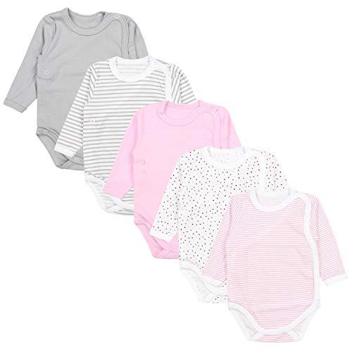 TupTam Baby Unisex Langarm Wickelbody Print/Uni 5er Pack, Farbe: Mädchen 1, Größe: 56