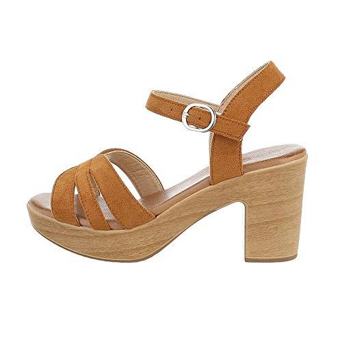 Ital-Design Damenschuhe Sandalen & Sandaletten High Heel Sandaletten, E016-3-, Kunstleder, Camel, Gr. 40
