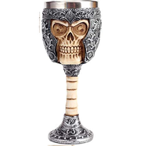 HAOAYOU Bier Glas RVS Gourde Schedel Mok Bier Drinkende Hoorn Halloween Koffie Cup Viking Mok Pub Bar Decoratie Goblets