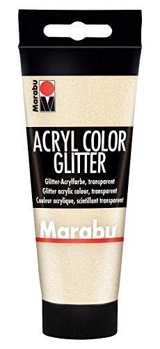 Marabu 12010050584 - Acryl Color glitter gold 100 ml, cremige Acrylfarbe auf Wasserbasis, schnell trocknend, lichtecht, wasserfest, zum Auftragen mit Pinsel und Schwamm auf Leinwand, Papier und Holz
