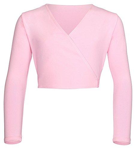 tanzmuster ® Ballettjacke Mädchen - Mandy - aus wunderbar weichem und festem Baumwollstoff - wärmende Wickeljacke fürs Kinder Ballett in rosa, Größe:128/134