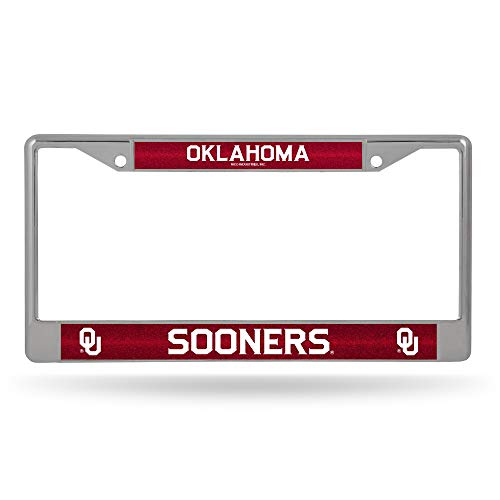 NCAA Rico Industries Bling Chrome License Plate Frame with Glitter Accent, Oklahoma Sooners
