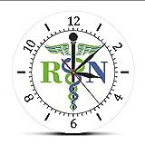 Cyalla Caduceo Símbolo Médico Reloj De Pared Medicina Médico Insignia Médica Reloj Exclusivo Reloj De Pared Registrado Enfermera RN Regalos De Enfermería Etiqueta Engomada Muda Moderna 12 Pulgadas