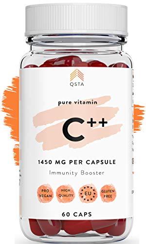 Vitamina C ++ 1450mg (60 DIAS) - Vitamina C Pura Sin Azucar en Capsulas - Aumenta Sistema Inmune, Controla colesterol, Antioxidante, Reduce Cansancio, Vegano - Sin Soja, Sin Gluten +MEDICOS