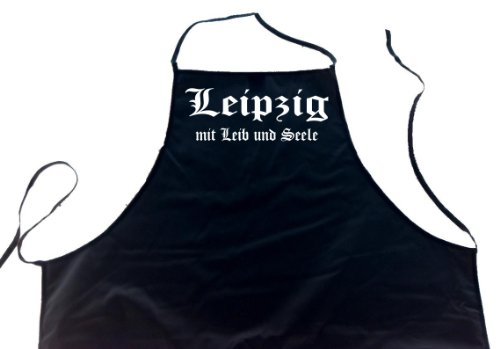 ShirtShop-Saar Leipzig mit Leib und Seele; Städte Schürze (Latzschürze - Grillen, Kochen, Berufsbekleidung, Kochschürze), schwarz
