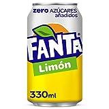 Fanta Limón Zero Azúcares - Refresco de limón, zero azúcares añadidos - Lata 330 ml