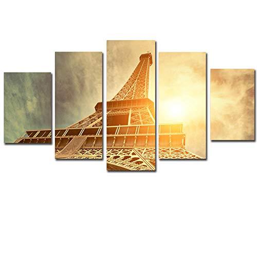 BIANWENSUAI 5 Panel Moderno La Torre Eiffel Pintura Cuadro Decoracion Pinturas Lienzo Arte de la Pared para la Sala de Estar 30x52 30x70 30x90cm Sin Marco