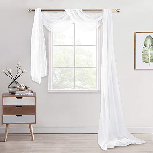 PONY DANCE Voile Vorhang Halbtransparent - Leinenoptik Stores Gardinen für Fenster/Himmelbett/Hochzeit Querbehang Gardine, Weiß, 1 Stück H 548 x B 140 cm