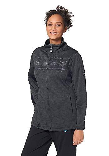 Polarino Damen Fleecejacke Fleece Jacke Norweger Style (Schwarz, 48/50)
