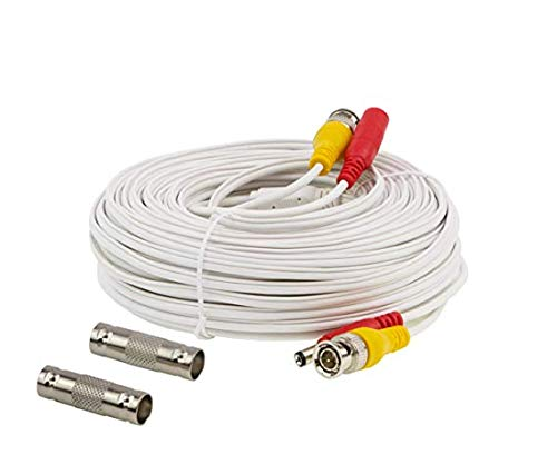 InstallerCCTV 100ft Pre-Made All-in-One BNC Video and Power Cable with Connector for Surveillance CCTV Security Camera Video System - White
