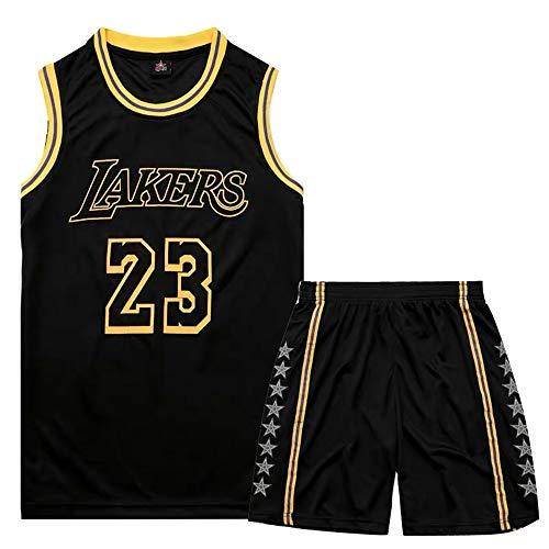 Sheki James #23 Lakers Jersey Camiseta baloncestotraje Entrenamiento Baloncesto ni?os Traje Deportivo para Hombre (Negro, S)