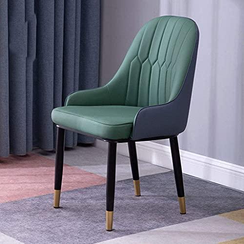 JFIA65A Silla moderna para el hogar, cojín de piel, silla de cocina, sala de estar, tapizada acento de ocio, sillas (color: verde)