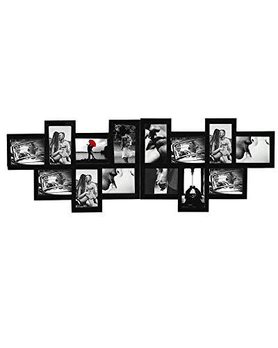 Rebecca Mobili Cornice Multipla da Parete per 14 Foto, Legno, Nero, Design Moderno, per Salotto, Idee Regalo - Misure 36 x 120 x 1,2 cm (HxLxP) - Art. RE4210