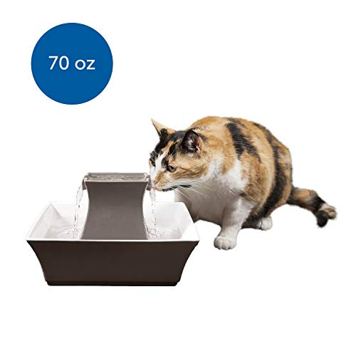 PetSafe Cat and Dog Water Fountain - Automatic Water Dispenser - Drinkwell Pagoda Ceramic Fountain for Pets - Filter Included - Taupe - 70 oz