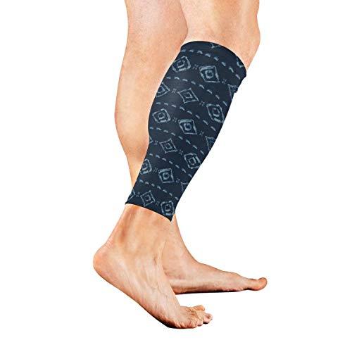 Bikofhd Irregular Rose Denim Pattern Sports Calf Compression Sleeve Sports Medical Grade Thigh High Compression Stockings - Thigh Leg Sleeve for Women & Men - 1 Pair