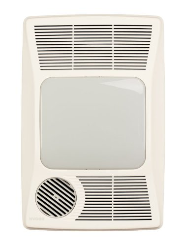 Broan-NuTone 100HFL Directionally-Adjustable Bath Fan with Heater and Fluorescent Light, 100 CFM, White