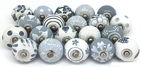 PUSHPACRAFTS Pomello per armadio, cassetto, in ceramica, dipinto a mano, 12 pezzi, grigio e bianco.