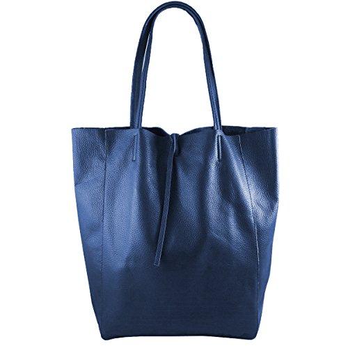 Freyday Damen Echtleder Shopper mit Innentasche in vielen Farben Schultertasche Henkeltasche Metallic look S01 (Blau)