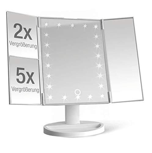 Kosmetikspiegel beleuchtet mit 22 LEDs - Tisch Spiegel aufklappbar mit 2- und 5-fachem Vergrößerungsspiegel - Schminkspiegel 180° schwenkbar - Betrieb mit Batterien oder über USB Kabel