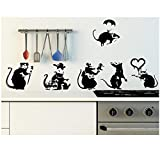 WANGHH Banksy Große Sammlung von Ratten Version 2 - Set mit 6 Ratten Wandaufkleber für Wohnkultur...