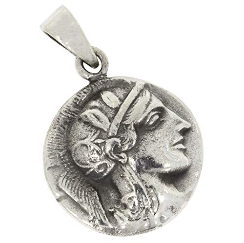 Réplica de la antigua moneda griega colgante de plata 925
