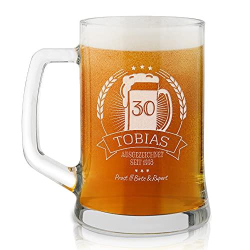 Murrano Bierkrug mit Gravur - personalisiert - 500 ml - Geburtstagsgeschenk für Herren - Geschenkidee für Bierfreunde - Prost!