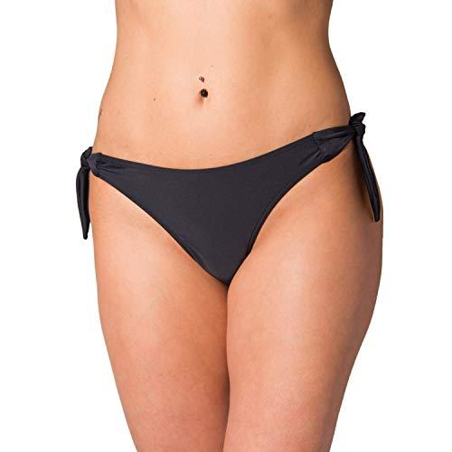 Aquarti Damen Tanga Bikinihose Seitlich Gebunden Brasilian, Farbe: Schwarz, Größe: 40