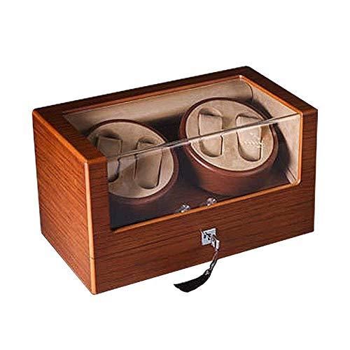 SGSG Enrollador de Reloj para 4 Relojes, Caja automática para Guardar Relojes, Caja de presentación, Caja de presentación 100% Hecha a Mano, Llave incluida