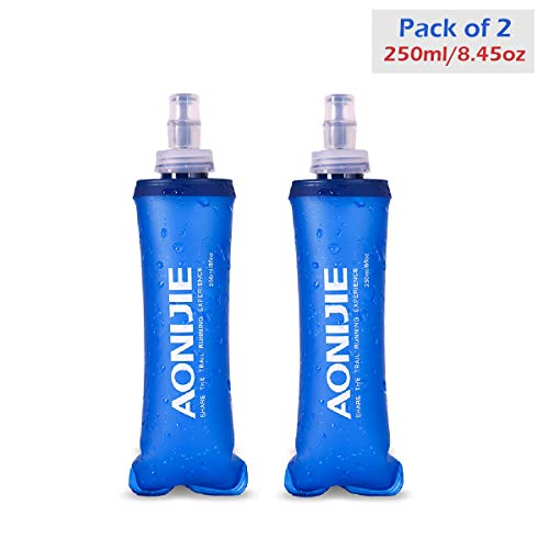 Azarxis Soft Flask Collapsible Water Bottle Running Soft Gel Flask Reservoir Handheld Folding TPU 250 500ml for Hydration Pack Hiking Cycling Climbing (250ml/8.45oz - 2 Pack)